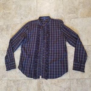 Chaps Like New Blue Plaid Ruffle Front Button Down